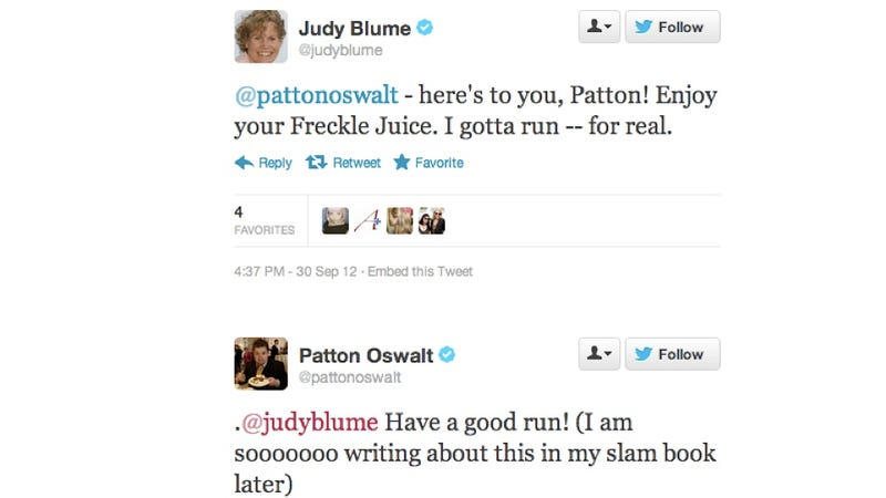 Illustration for article titled Patton Oswalt and Judy Blume Had an Adorable Bibliography-Off on Twitter Earlier Today