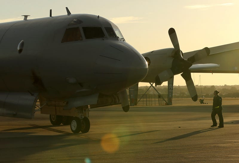 A Royal Australian Air Force P-3 Orion in 2014 after returning from a search mission. Image: AP