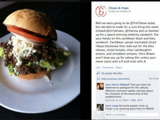 The Black and Bleu Burger and the restaurant's Facebook feed (Divaartist.com)