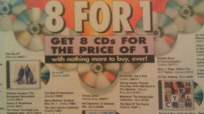 "Four Columbia House insiders explain the shady math behind ""8 CDs"