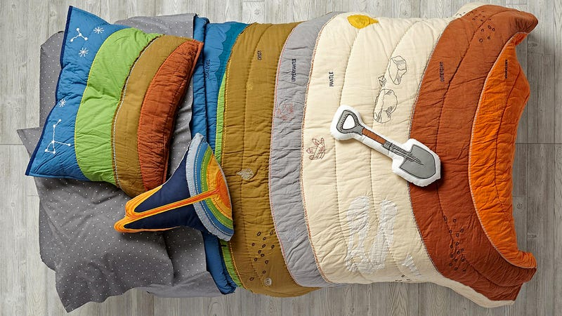 Illustration for article titled Your Kid Will Secretly Learn About Geology With this Colorful Bedding