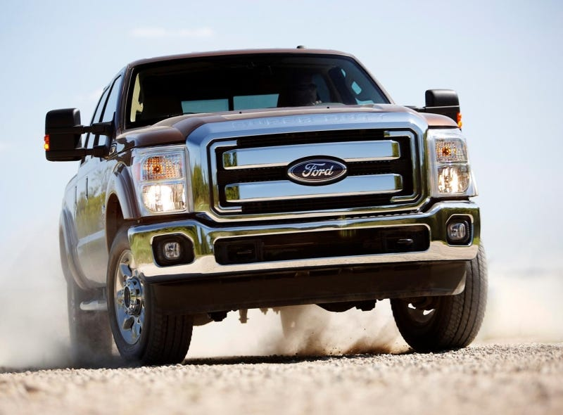 Illustration for article titled 2011 F-Series Super Duty: Ford Tows Chevy To Woodshed, Smacks It Around