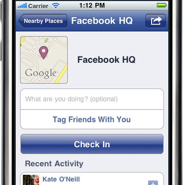 Illustration for article titled Facebook Adds Location Check-Ins Through Foursquare, Gowalla, and Yelp