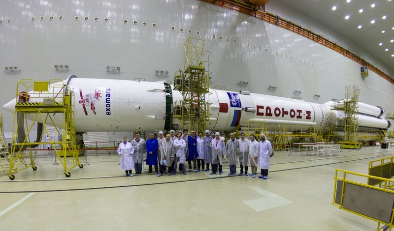 The Proton Rocket that will carry ExoMars space probes to orbit. Image Credit: KhSC / ESA