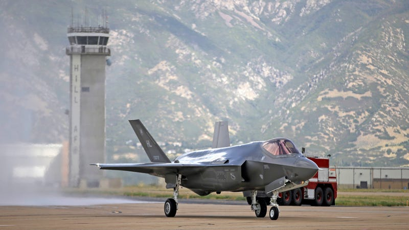 An F-35 jet arriving at its new operational base at Hill Air Force Base in Utah.