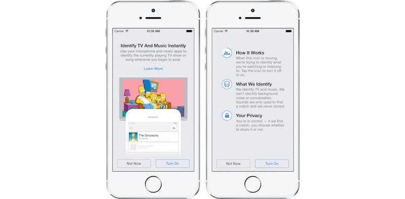 Illustration for article titled Facebook App Adds Shazam-Like Function to Identify Songs and Shows