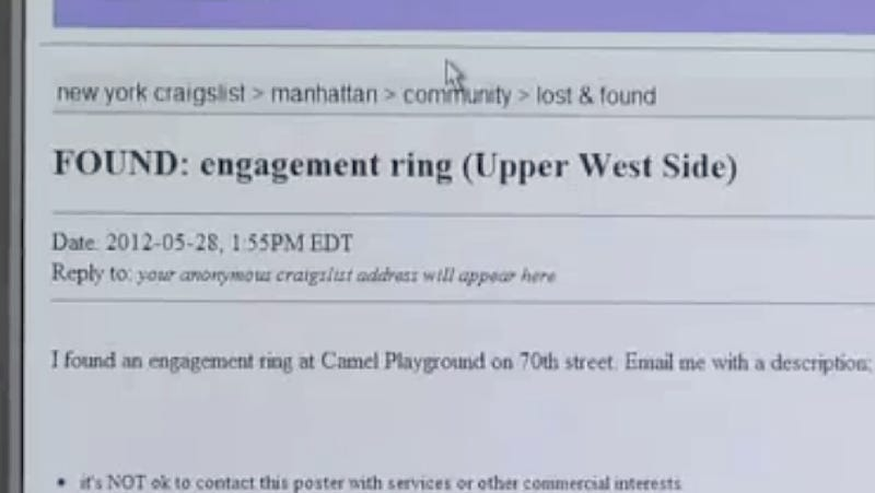 Illustration for article titled Woman's Lost Engagement Ring Returned by the All-Knowing Craigslist