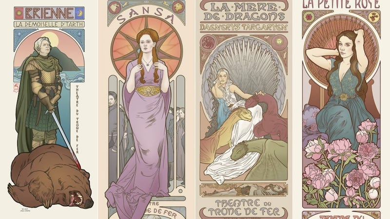 Illustration for article titled Game of Thrones ladies get melancholy Mucha-style theater posters