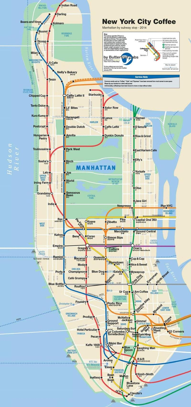 A Subway Map of All the Best Coffee Shops In NYC – Manhattan Ny Subway Map
