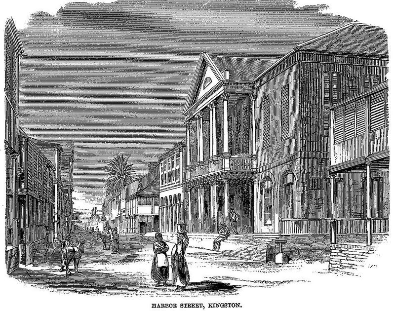 Harbor Street, Kingston, illustration in Cast-away in Jamaica, by W.E. Sewell, in Harper's Monthly Magazine, January 1861 (Wikimedia)