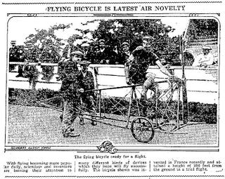 Illustration for article titled Flying Bicycle (1919)