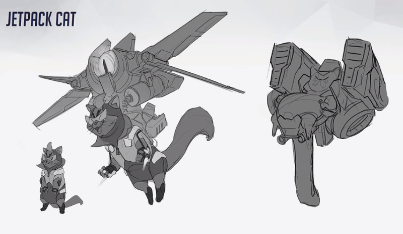 Illustration for article titled A Closer Look At Scrapped Overwatch Hero Jetpack Cat