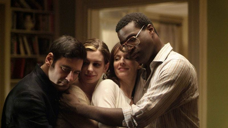 Mather Zickel, Anne Hathaway, Rosemarie DeWitt, and Tunde Adebimpe in Rachel Getting Married