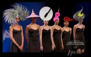 Illustration for article titled Heavenly Hats Paired With Fugly Frocks On Project Runway