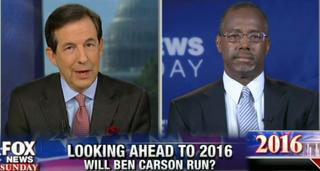 Chris Wallace interviews Ben Carson on Fox News Sunday Sept. 28, 2014.FOX NEWS CHANNELSCREENSHOT