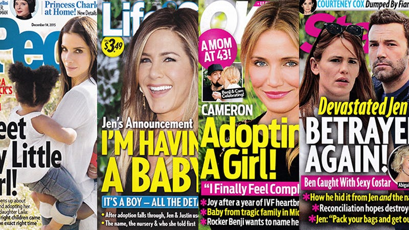 Illustration for article titled This Week In Tabloids: Jennifer Aniston Is Finally Having Her 1,187,366th Baby!