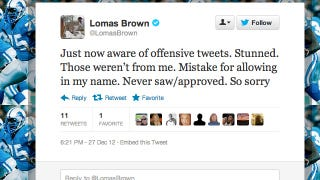 Illustration for article titled ESPN's Lomas Brown Says He Didn't Send All Those Insulting Tweets Sent By Lomas Brown