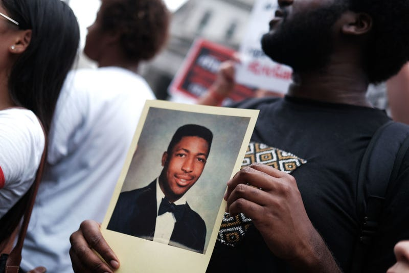 People participate in a protest to mark the five year anniversary of the death of Eric Garner during a confrontation with a police officer in the borough of Staten Island on July 17, 2019 in New York City.