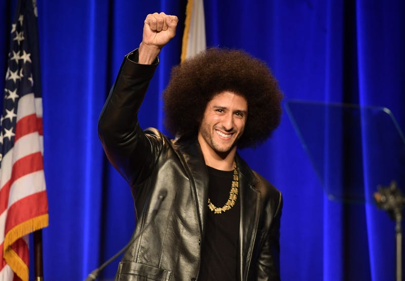 Honoree Colin Kaepernick speaks onstage at the ACLU of Southern California annual Bill of Rights Dinner at the Beverly Wilshire Four Seasons Hotel on Dec. 3, 2017, in Beverly Hills, Calif. (Matt Winkelmeyer/Getty Images)