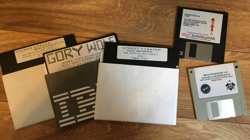 Shareware disks with mods for Wolfenstein 3D.