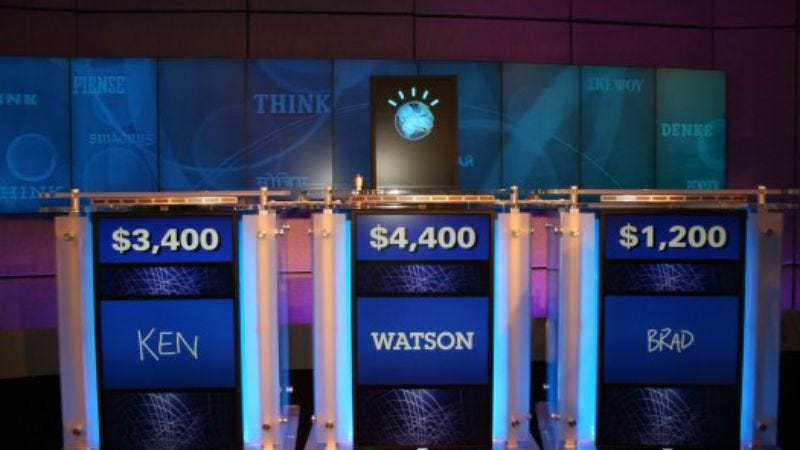 throughout the three day two game competition between ibms jeopardy playing supercomputer watson and former champs ken jennings and brad rutter