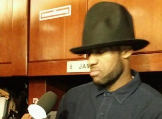 Illustration for article titled LeBron James Does Postgame Interview In Pharrell Hat