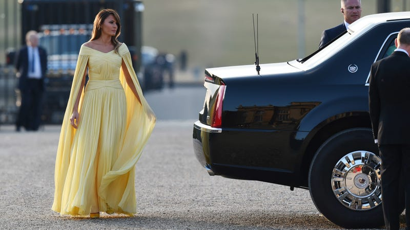 First Lady Melania Trump arrives at Blenheim Palace on July 12, 2018 in Woodstock, England.