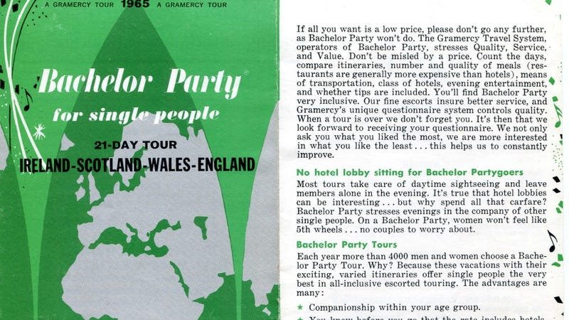 Illustration for article titled Let's All Take a 1965 'Bachelor Party' Tour for Singles to Ireland!