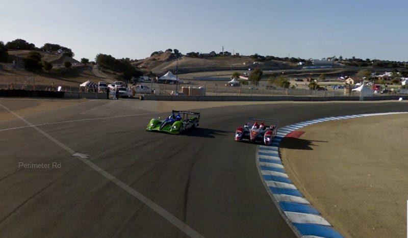Illustration for article titled Google Street View Laps Laguna Seca With ALMS Race Cars!