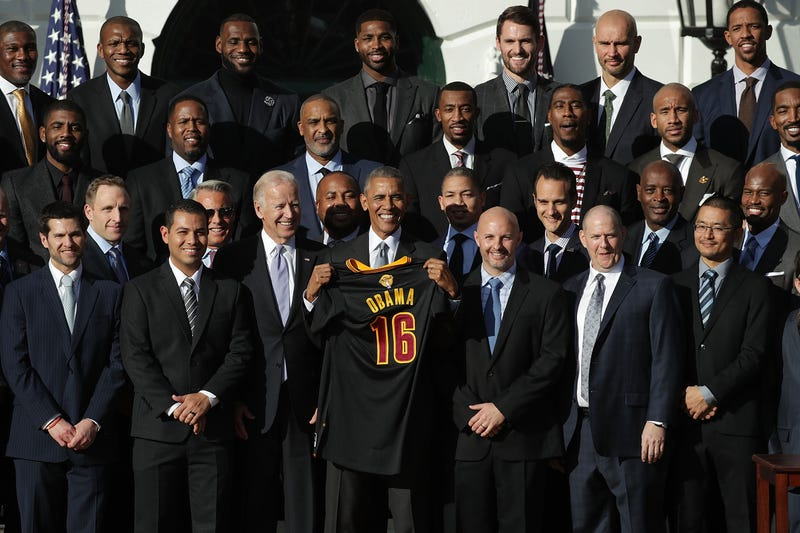 President Barack Obama and Vice President Joseph Biden pose for photos with members of the Cleveland Cavaliers during a South Lawn event Nov. 10, 2016, at the White House in Washington, D.C.Alex Wong/Getty Images