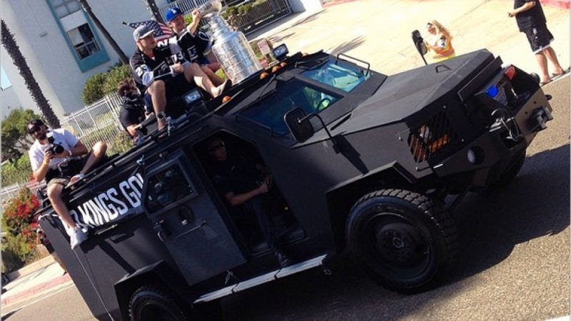 Illustration for article titled LA Kings Paraded The Stanley Cup Around With A Badass Armored Motorcade