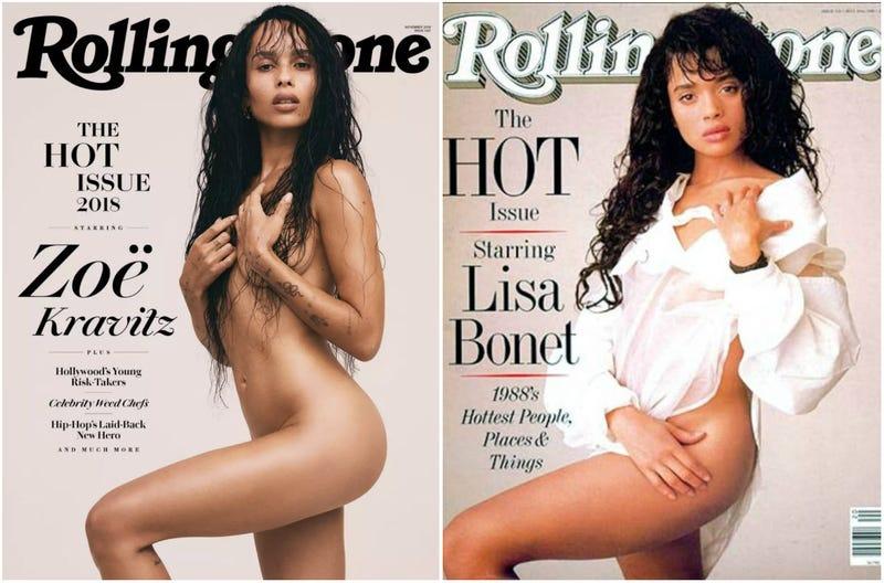(l) Zoë Kravitz, 2018; (r) Lisa Bonet, 1988