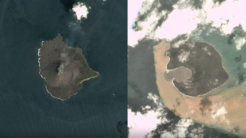 Left: Anak Krakatau on December 17, 2018, before the landslide. Right: The island volcano on December 30, 2018, after the landslide.