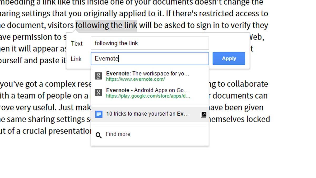 Link Between Documents in Google Drive