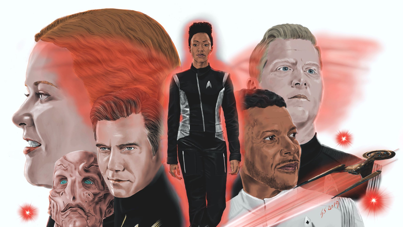A painting of the Discovery cast.