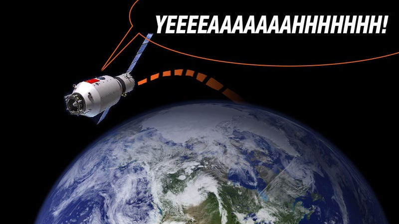 Illustration for article titled China's First Space Station Is Out Of Control And Will Crash To Earth Next Year