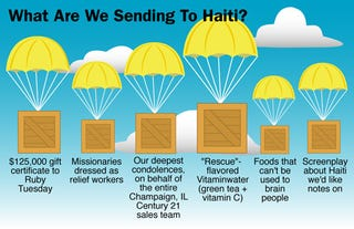 Illustration for article titled What Are We Sending To Haiti?