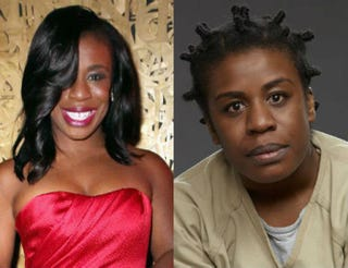 "Uzo Aduba; Aduba as Orange Is the New Black's Suzanne ""Crazy Eyes"" WarrenAri Perilstein/Getty Images; Netflix"