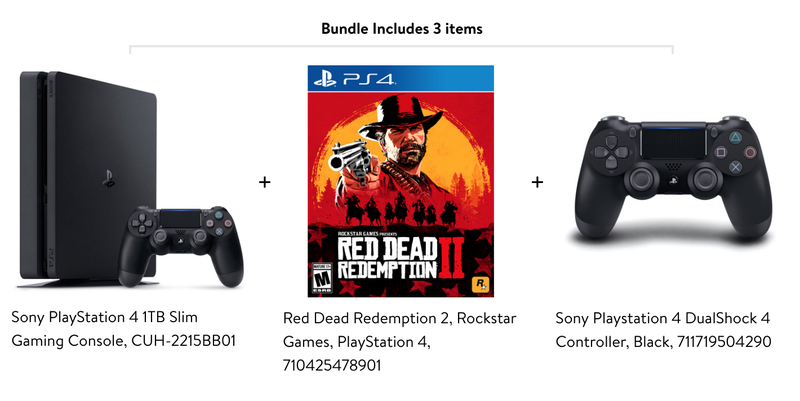 PS4 Slim 1TB + Red Dead Redemption 2 + Bonus Controller | $199 | Walmart |