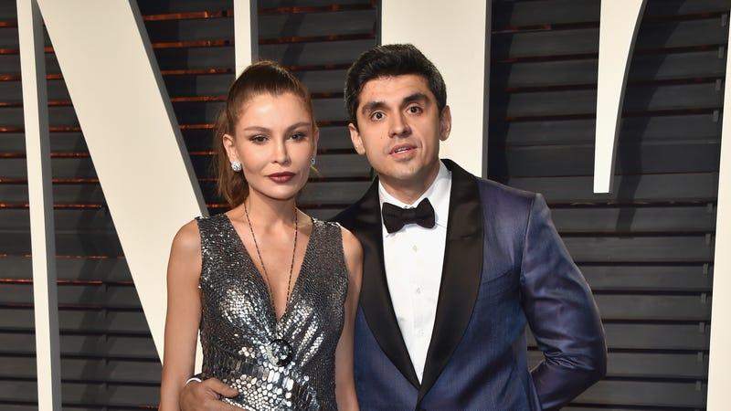Lola Karimova-Tillyaeva and husband Timur Tillyaeva at Vanity Fair's Oscars party in February. Image via Getty.