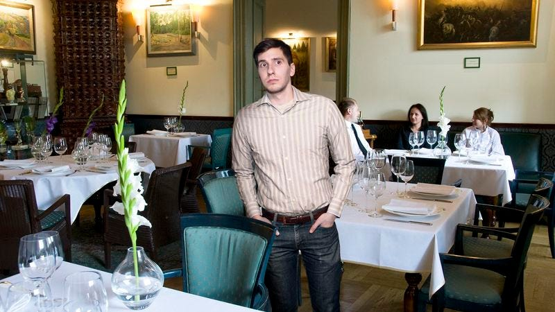 Illustration for article titled Man Filled With Gratitude At Sight Of Other Customer In Nice Restaurant Wearing Jeans
