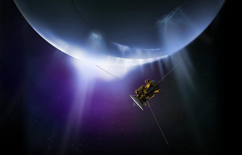 Artist's concept of Cassini probe flying near Enceladus' south pole geyser. Image: NASA/JPL-Caltech