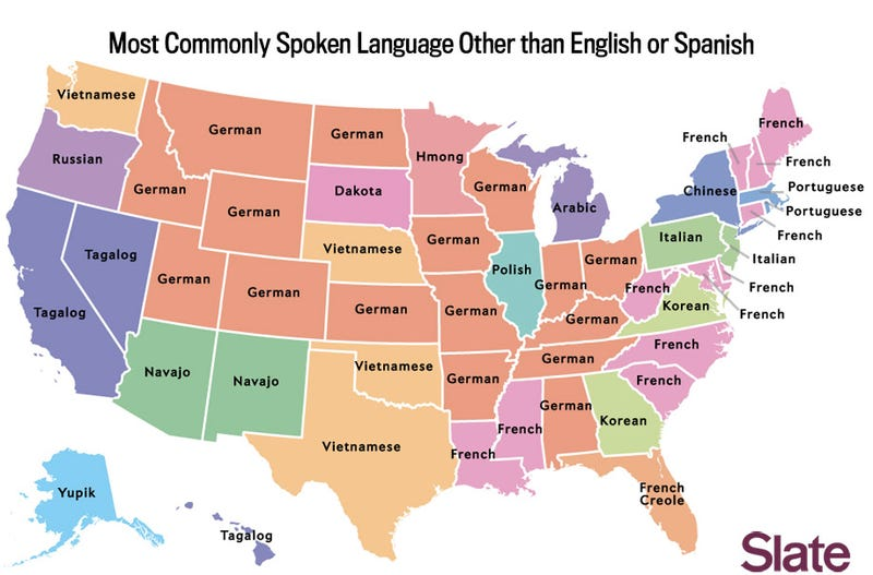 The Most Common Language In Each US StateBesides English And Spanish - United states map in french