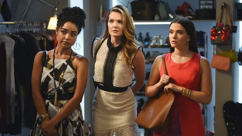 From left to right: Aisha Dee as Kat, Meghann Fahy as Sutton, and Katie Stevens as Jane in The Bold Type. Image via Freeform.