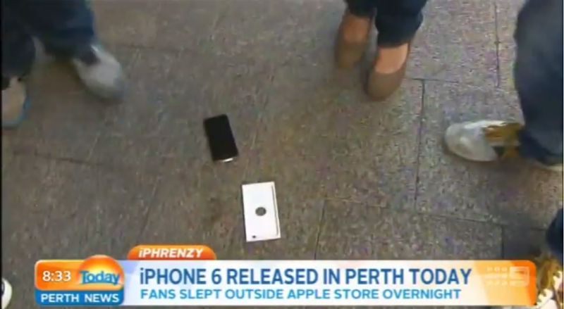 Illustration for article titled First iPhone 6 Buyer Does an Accidental Drop-Test on Live TV