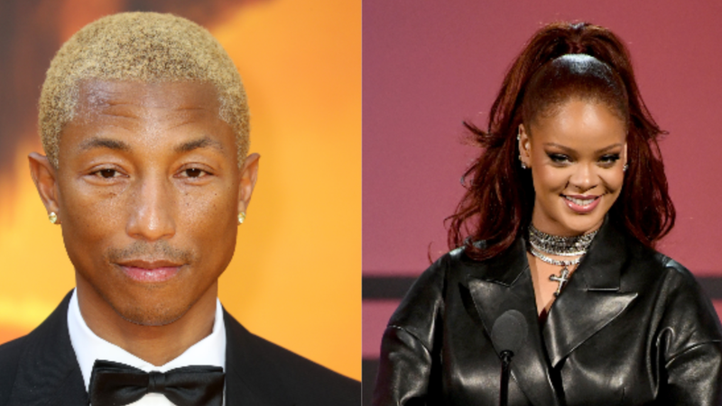 "(L-R): Pharrell Williams attends ""The Lion King"" European Premiere on July 14, 2019, in London; Rihanna speaks onstage at the 2019 BET Awards on June 23, 2019, in Los Angeles."