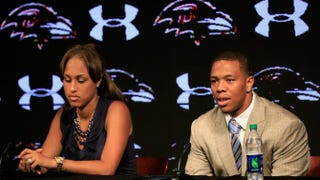 Ray Rice addresses a news conference with his wife, Janay Palmer, at the Ravens training center May 23, 2014, in Owings Mills, Md.Rob Carr/Getty Images