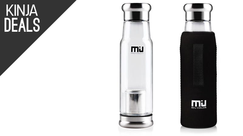 Illustration for article titled Steep Tea on the Go With This Discounted Glass Water Bottle