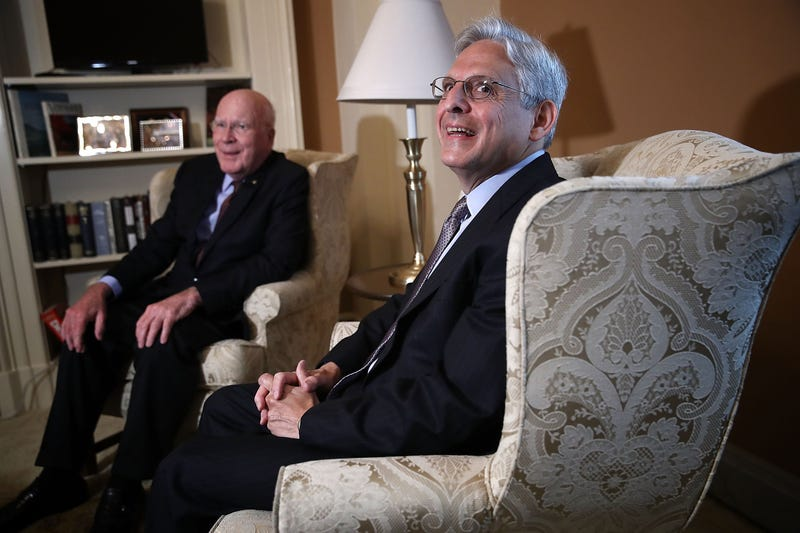 Sen. Patrick Leahy,left, (D-Vt.), ranking member of the Senate Judiciary Committee, meets with then-U.S. Supreme Court Justice nominee Merrick Garland (R) in Leahy's office at the U.S. Capitol September 8, 2016 in Washington, D.C.