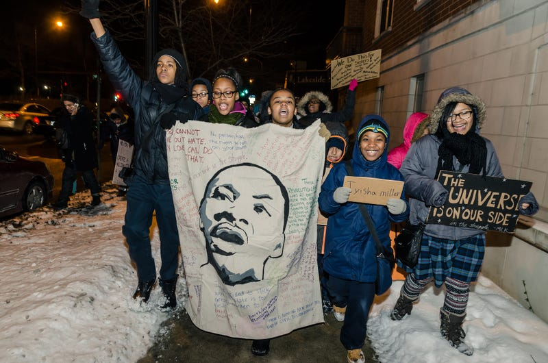 Black Lives Matter Chicago participating in 2015 MLK Day march organized by fifth- to eighth-grade students at Village Leadership Academy (Sarah-Ji/Love & Struggle Photos)